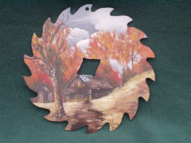 The Cottage - Handpainted Saw Blade