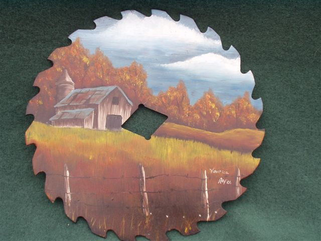 The Silo - Handpainted Saw Blade
