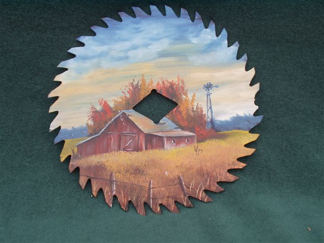 The Windmill - Handpainted Saw Blade